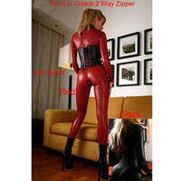 Wholesale two cosplay for sale - Size S XXXXL Women s Sex Fashion Black Red Hot Collant Femme Underware Latex Leather Catsuit Cosplay Fancy Dress Costume Front and Back