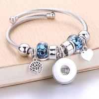 ingrosso bottoni di gioielli-Argento all'ingrosso Bracciale elastico scatta gioielli Bracciali 18mm Charms Bracciale con perline Snap gioielli misura 18mm bottoni a pressione 8040