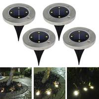 linternas solares que acampan llevadas portátiles al por mayor-4 luces de disco LED para exteriores Luces de disco solares Linternas portátiles al aire libre con energía solar Senderismo camping Jardín Luces de escalera