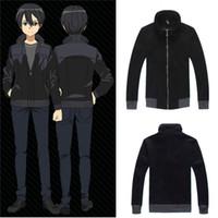 Wholesale full tv online resale online - Asian Size Japan Anime Sword Art Online Kirigaya Kazuto Cosplay Costume Black long Sleeve Jacket Coat