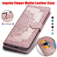 Wholesale iphone blue flowers case for sale - Imprint Flower Wallet Leather Cases For Iphone XR XS MAX S Galaxy Note ID Slot Lace PU Pouch