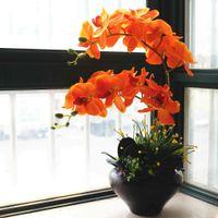 ingrosso vasi arancioni-1 Set di colore arancione orchidee fiore di stoffa con foglie di orchidee artificiali Disposizione nessun vaso di fiori decorativi