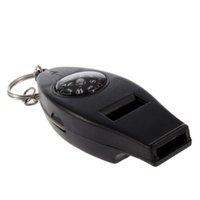termómetro de silbato al por mayor-Herramienta de supervivencia Mini Negro Termómetro Whistle Compass 4 en 1