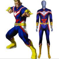 body de color verde oscuro al por mayor-My Hero Academia All Might Costume 3D Original Movie Man Disfraz de superhéroe Zentai Suit
