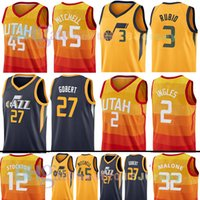 Wholesale m jazz - new Utah 45 Donovan Mitchell 3 Ricky Rubio Jazz JERSEY 27 Rudy Gobert 2 Joe Ingles 12 John Stockton 32 Karl Malone Basketball Jerseys