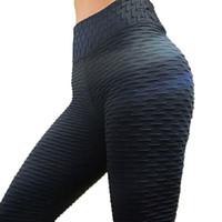 leggings de panel negro al por mayor-Leggings negros Mujer Poliéster Hasta el tobillo Pliegue estándar Pantalones Elasticidad Mantener delgado Empujar hacia arriba Fitness Legging femenino
