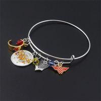 Wholesale Superhero For Woman - Wonder Woman Charms Expandable Wire Bangle For Women Amazing Mom Gift Adjustable Wrist Bangle Superhero Jewelry