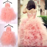 Jewel Pink Ball Gown Ruffle Button Sheer Floor Length Appliques Cute Custom Made Wedding DRESS Flower Girl Dress