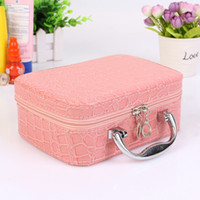 Wholesale fashion stone bags for sale - Small Mini Alligator Cosmetic Bags Beauty Case Makeup Bag Lockable Jewelry Box Travel Toiletry Organizer Suitcase