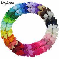 clips großhandel-Myamy 40pcs Los 3 Baby Grosgrain Ribbon Boutique Haarbögen mit Krokodilklemmen Pinwheel Bow für Kinder Kinder Headwear
