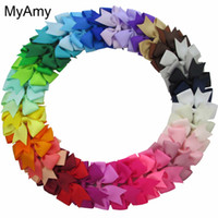 Wholesale hair mix color girls online - Myamy Baby Girl Grosgrain Ribbon Boutique Hair Bows With Alligator Clips Pinwheel Bow For Children Kids Headwear