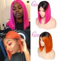 ingrosso capelli cinese rihanna-1B / colore rosa due toni dritto cinese capelli umani remy parrucche anteriori del merletto con radici nere ombre colore parrucche glueless pre-pizzicate