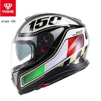 o capacete completo venda por atacado-2018 dupla lentes YOHE Full Face capacete da motocicleta YH-976 completa capa de moto capacetes feitos de ABS e PC viseira lente tem 5 tipos de cores