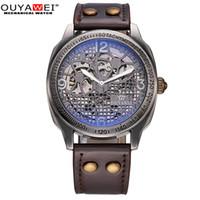 ремень для стимпанк оптовых-OUYAWEI мужская скелет стимпанк ретро старинные бронзовые автоматические механические темно-коричневый кожаный ремешок армии спортивные часы