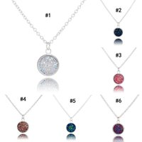 Wholesale drusy agate pendants resale online - New Fashion Round Druzy necklaces colors Bling Natural stone drusy Pendant charm Link chain Necklace For women Luxury Jewelry Gift