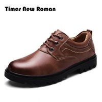 Wholesale Roman Lace Dress - Times New Roman brand Men Leather Shoes Casual Genuine Leather Shoes Men Oxford Fashion Lace Up Dress Outdoor Work