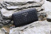 carteira de avestruz para homens venda por atacado-Nova carteira de designer de moda 1390 quadrado longo homens zíper carteira de couro padrão de avestruz premium qualidade com caixa