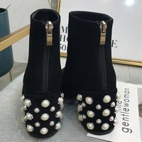 Wholesale pearl boots resale online - Boussac Pearl Heel Ankle Boots Women Suede Leather Martin Boots Round Toe High Heel Women Boots Winter Shoes Women SWE0125