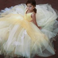 tutu das crianças azuis venda por atacado-Adorável amarelo tule menina pageant vestidos para meninas glitz tutu saia crianças vestidos de casamento com cetim top crianças vestidos de baile 2019