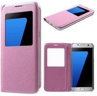 samsung cep telefonlarını göster toptan satış-S9 S8 Için 2018 Artı Deri Flip Cep Telefonu Kılıfı Için Samsung Galaxy S7 Pencere Görünüm Şok Geçirmez Kapak Iphone 7 Galaxy S7 KENAR NOT 5