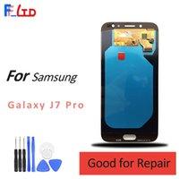 samsung galaxy amoled venda por atacado-Super AMOLED Qualidade HD para Samsung Galaxy J7 Pro J730 J730F Display LCD Digitador Substituição Da Tela 100% Testado Frete Grátis