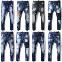 venda de calças jeans rasgadas venda por atacado-Venda quente de Moda Homens Jeans Agradável Qualidade Afligido Skinny Fit Lixívia Fade Rip Wash Vintage Denim Calças Guy
