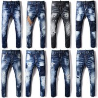 Wholesale hot bleach - 2018 Hot Sale Fashion Men Jeans Nice Quality Distressed Skinny Fit Bleach Fade Rip Wash Vintage Denim Trousers Guy