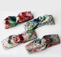 Wholesale Fashion Headbands - Designer 100% Silk Cross Headband Fashion Luxury Brand Elastic Hair bands For Women Girl Retro Floral Bird Turban Headwraps Gifts