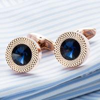 круглые запонки из золота оптовых-Высокое качество мужская запонка розовое золото покрытие синий Кристалл круглый мужская рубашка запонки свадебные манжеты