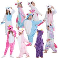 Wholesale onesie clothes for sale - Group buy Flannel Unicorn Adult Rainbow onesie costume Cartooon Hoodies Robes animal pajamas pyjama Jumpsuit cosplay costume home clothing GGA928