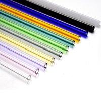 satılık cam çöp sepetleri toptan satış-Fabrika Doğrudan Satış Renkli Borosilikat Kokteyl Cam Straws parti SN1394 için 7 Inç 8mm boğaz içme saman