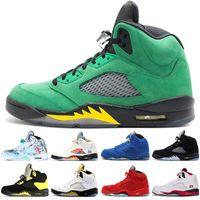 chaussures de basket vert fluorescent achat en gros de-2020 5 5s Wings International Flight Chaussures de Basket-ball Hommes Rouge Bleu Suede Camo Canards de l'Oregon Fluorescent Vert hommes baskets de sport 7-13
