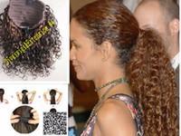farben lockiges haarverlängerungsclip großhandel-Halle Berry aubrun verworrene lockige Pferdeschwanz-Haarteilclip African Human hair 16inch färbt Pferdeschwanzhaarverlängerung 120g