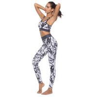 sexy workouts kleidung großhandel-Frauenanzug Trainingsanzug Workout Sexy Bh und Hohe Taille Schlank Push-Up Leggings Sportbekleidung Solid Print Frauen Fitness-Set