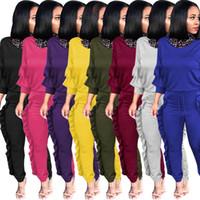 chándales stock al por mayor-8 colores en stock 2019 Hpt Oferta Ruffles Dos piezas Mujer Chándales Manga larga Camiseta y pantalones largos Vestidos deportivos ocasionales
