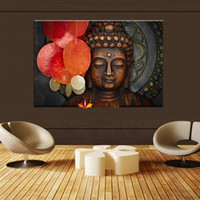 Wholesale painted statue - Large art prints Home Decor Canvas Painting Wall Art Buddha Statue Meditation picture wall decor modern living room wall pictures