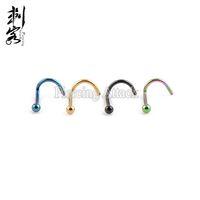medidores de ordem venda por atacado-(Min. Ordem $ 10) Body Jewelry Titanium Anodizado Parafuso de Nariz De Aço Cirúrgico Bola 20 Calibre 0.8 * 6.5 * 2mm Anel de Nariz