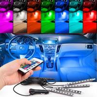 drl ışık şeritleri toptan satış-4 adet 36 LED Araba RGB LED DRL Şerit Işık LED Şerit Işıklar Renkler Uzaktan Kumanda Ile Araba Iç Dekoratif Atmosfer Lamba Araba Styling