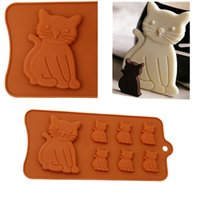 форма полости оптовых-Cat Kien 7 Cavity Silicone Mold Biscuits Fondant Chocolate Candy Mould Handmade Bakeware Cake Decoration Tools QW893916