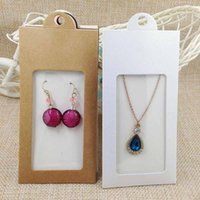 Wholesale wood earring gift box - 50PCS various color gift package& display window box candy box with hanger necklace  earring jewelry packing window box