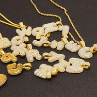 Wholesale gold pendant for men singapore resale online - Hip Hop A Z Bubble Letters Pendant Necklace Micro Pave Rhinestone Iced out alphabet Charm Twisted Rope chains For Men Women Jewelry