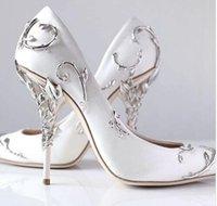 zapatos de hoja al por mayor-Metal Leaf ultra punta estrecha bombas de las mujeres elegantes zapatos de novia de la boda diseñador de la marca azul blanco satinado Sapato Feminino