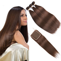 Wholesale straight colored hair weave online - Brazilian Pre Colored Human Hair Weave with Closure Three Bundles with Closure Dark Brown Brazilian Straight Human Hair