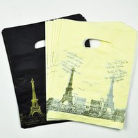 Wholesale wholesale recycled gifts - 15*20cm Black  Yellow Tower Pattern Plastic Shopping Bags With Handle100pcs Plastic Gift Bags Packaging With Handle Jewelry
