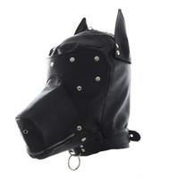 Wholesale zipped hood mask for sale - Group buy Masquerade Mask Leather Gimp Dog Puppy Hood Full Mask Mouth Gag Costume Party Mask Zipped Muzzel Halloween Masks