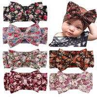Wholesale knit head band bow - Headbands Bow hairs Vintge Hair Head Band Baby girl sweet Elastic knit cotton baby hair accessories Wholesale cheap b11