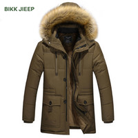 Wholesale Long Jackets Fur Hood Mens - Winter Men's Down Jacket With Fur Hood Hat Slim Men Outwear Coat Casual Thick Mens Down Jackets M-4XL Men Winter Jacket