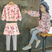 Wholesale Girls Sweater Skirt Sets - girls clothing sets baby girl pantskirt sweater set printed floral shirts skirts pink dresses kids summer clothes