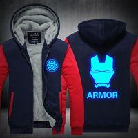 Wholesale anime tracksuit online - Iron Man Anime Armor Luminous Winter Hoodie Zipper Jacket Leisure Sweatshirts Thicken Cardigan Coat Long Sleeve Tracksuit Pullovers Tops
