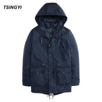 Wholesale Casaco Inverno Masculino - Wholesale-Tsingyi Solid Two pieces Winter Jacket Men Blue Black 3 in 1 Windproof Outerwear Thick Parkas Casaco Masculino Inverno Coats